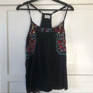 Free people Spanish embroidery open back cami
